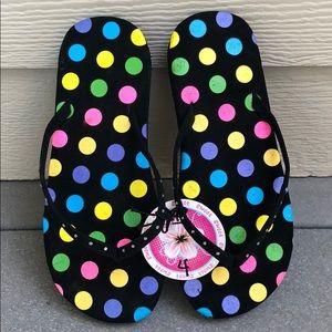 NWT! Black polka dot Sweet Girl Sandals/Flip Flops